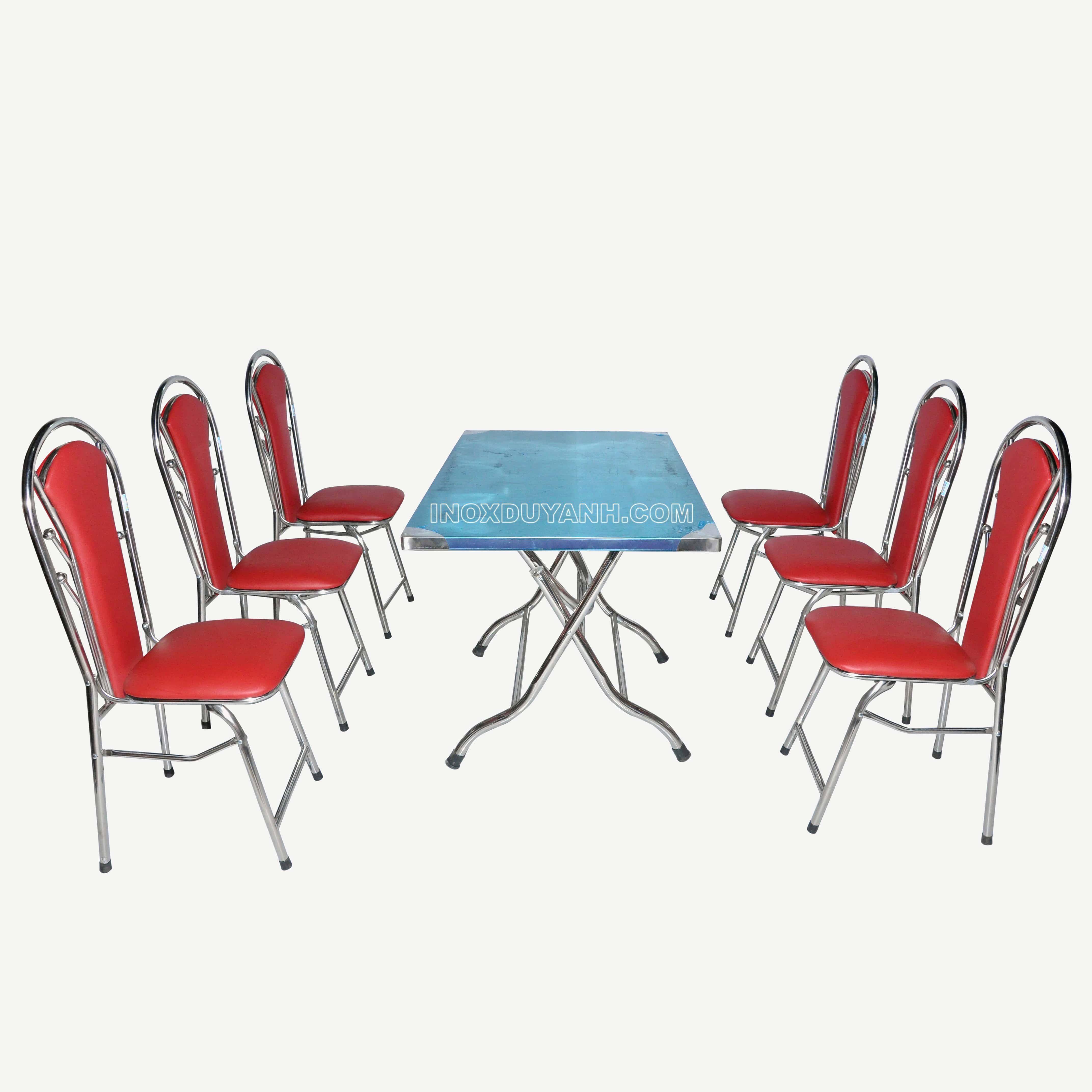 Bộ bàn ghế inox vuông và ghế 4 bi